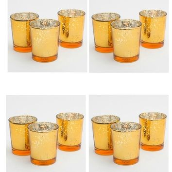 12 PC Gold or Amber Mercury Glass Votive Candle Holders