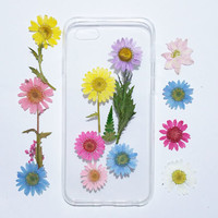 Daisy iphone 5s cover, iPhone 5 Case pressed flower, floral iPhone 6 cover tpu, iPhone 6s Case, iPhone 6s Plus Case, bumber iphone case