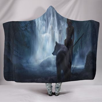White Wolf Plush Lined Hooded Blanket