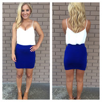 Royal Blue Bandage Skirt