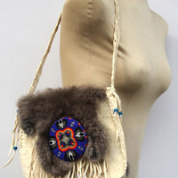 Hand Made Indian Buck Skin Leather Purse with Grey Rabbit Fur Beaded Fringe Beaded Medallion and Abalone Button