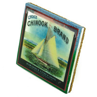 Chinook Brand - Vintage Citrus Crate Label - Handmade Recycled Tile Coaster