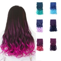 "20"" Curly - 3/4 Full Head Dip-dye Two Tone Color Synthetic Clip In Hair Extensions"