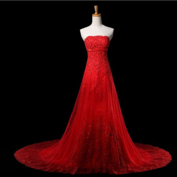 wedding dresses 2015 new red wedding bride wedding dress lace dress fashion sweet bridal dresses = 1929558276