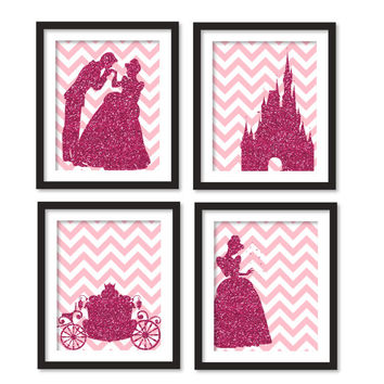 Nursery art - Silhouette of fuchsia glitter Cinderella, carriage, princes and Cinderella and castle, girl room art, gray chevron