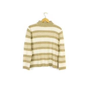 90s shetland wool striped knit sweater - vintage 1990s - boxy - beige + cream