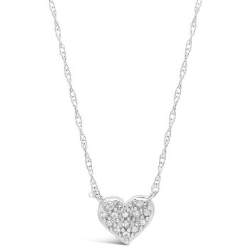 .10 cttw Diamond Mini Heart Sterling Silver Pendant Necklace 18""