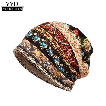 Hot Selling Floral Print Beanie Scarf Collar 2 Use Hat For Women Cancer Hat Turban Head Wrap Beanie Women Bonnet Femme *1121