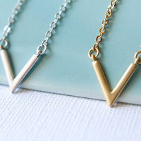 Skinny Chevron Vee Necklace, Available in Silver or Gold