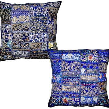 2pc Royal/Navy blue Patchwork Decorative Throw Pillow, Vintage Embroidered pillow, Indian Ethnic Floor Pillow, Outdoor Pillow, Sofa Pillow