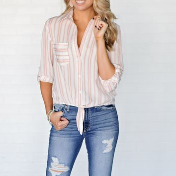 * Richmond Striped Top With Tie Front : Pink/White