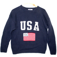 4th of July Patriotic USA Flag Ugly Sweater - Navy - The Ugly Sweater Shop