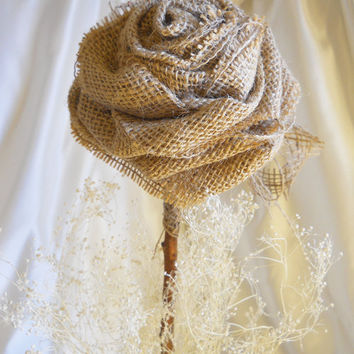 "1 Large 17"" Tall Burlap Rose Flower Stem for weddings, table decor, centerpieces. Burlap, lace and natural twig stem."