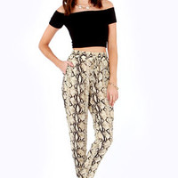 Snake It Up, Baby Snake Print Slouch Pants
