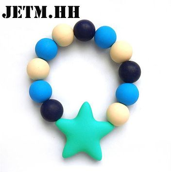 Star Round Beads Silicone Baby Teether Bracelet Sensory Latex Teething Rings For Baby Toys Food Grade Silicone Teethers JETM.HH