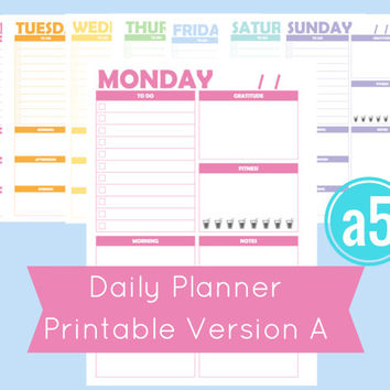 a5 Daily Planner Printable, Filofax Daily Pages, Filofax a5, Printable a5 Inserts, Printable a5 Planner Pages