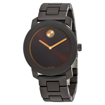 Movado Bold Brown Sunray Dial Mens Stainless Steel Watch 3600462