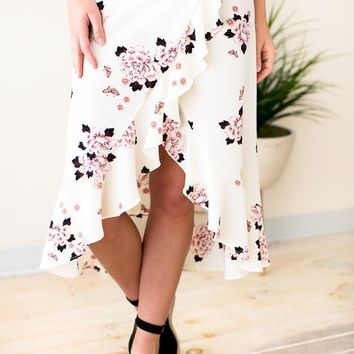 Style in Excess Floral Ruffle Skirt
