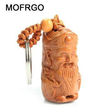 Chinese Traditional Mahogany Carving The God of Wealth Car/Bag/Purse Key Ring Pendant Keychain Amulet Pendant All The Best