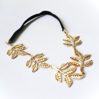 Gold Shiny Leaf Headband Wedding Headpiece Bridal Hair Accessories