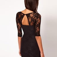 ASOS PETITE Exclusive Lace Dress With Cut Out Back Detail at asos.com