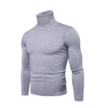 2017 Turtleneck Sweater Men Autumn Winter Pure Color Sweaters Slim High Neck Long Sleeve Knitted Sweater Pullover 6 Colors M-XXL