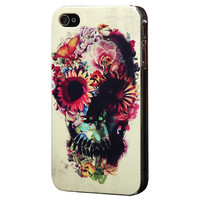 Unique White Flower Skull For Iphone4/4S