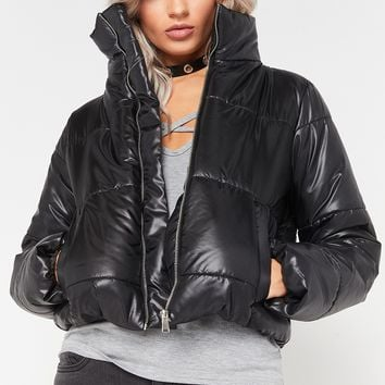ruby black cropped puffer jacket