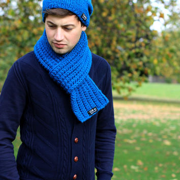 Hand Knit Scarf, Men's Scarf, Women s Scarf Petrol Blue, Winter Accessories
