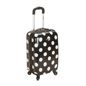 Rockland Black Polka Dot 20-inch Lightweight Hardside Spinner Carry-on Luggage | Overstock.com Shopping - The Best Deals on Carry On Upright Luggage
