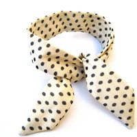 Simple Cute Polka Dot Bun Wrap Top Knot Tie Wired Hair Accessory for Buns or Pony Tails Cream Black Polka Dots Bun Wire Wrap Wrist Wrap