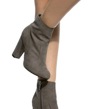 Grey Faux Suede Chunky Ankle Booties @ Cicihot. Booties spell style, so if you want to show what you're made of, pick up a pair. Have fun experimenting with all we have to offer!