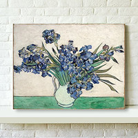 Wieco Art - Irises by Vincent Van Gogh Oil Paintings Reproduction, Modern Giclee Canvas Prints Flowers Artwork Floral Picture to Photo Printed on Stretched and Framed Canvas Wall Art for Home and office Decorations V0001 12 by 16 inch