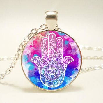 1pcs/lot Hamsa Silver Pendant Necklace Long Chian Statement Handmade Necklace HZ1