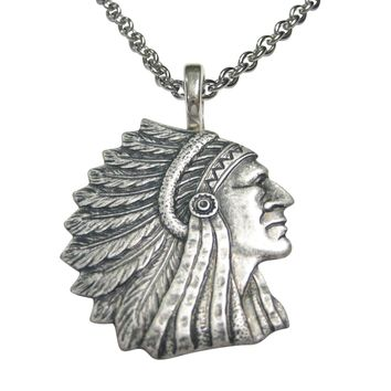 Silver Toned Indian Chief Head Pendant Necklace