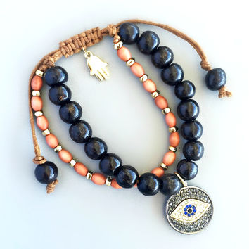 Azemi Beaded Evil Eye Bracelet
