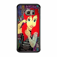 Ariel Little Mermaid Tattoo With Flower Cover Samsung Galaxy S6 Edge Case