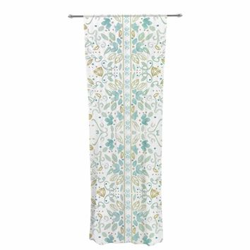 """Jennifer Rizzo """"Boho Inspired Watercolor"""" Blue Gold Floral Pattern Watercolor Painting Decorative Sheer Curtain"""