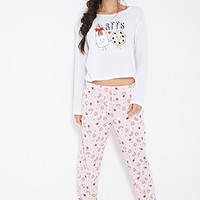 FOREVER 21 BFF PJ Set Cream/Pink