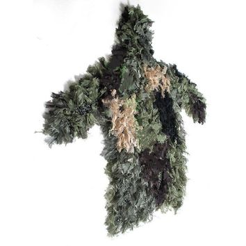 Jungle Camouflage Net Ghillie Suit jacket Hat clothes Lightweight Handmade Knitting for Hunting birdwatch