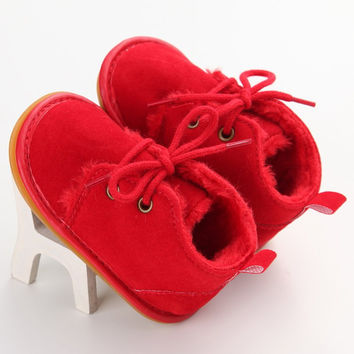 Winter Baby Shoes First Walker Newborn Boy Girl Lace-up Shoes Pre-walker Infant Autumn Baby Warm Villus Heels Shoes Baby Boy