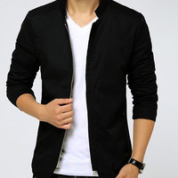 Stand Collar Zipper Pocket Long Sleeves Jacket