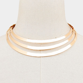 Decadent 3-Row Metal Choker Necklace - Gold