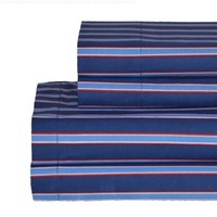 Tommy Hilfiger Pillow Case and Print Sheet Set, Twin, Christopher Stripe Blue