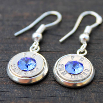 Sapphire Crystal 9mm Bullet Dangle Earrings