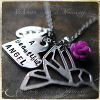 A Beautiful Angel Personalized Remembrance, Sympathy, Miscarriage, Angel Baby Necklace Hand Stamped by rubiesandwhimsy