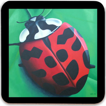 Lunching Lady . . . Bug - Coasters (Set of 4) of Lady Bug Acrylic Paint Fine Art