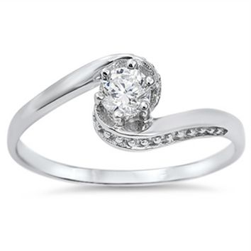 .925 Sterling Silver Solitaire Engagement Ladies Ring Size 4-10 Beaded Round Cut 1 carat