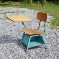 Vintage Heywood Wakefield Childs School Desk with Chair Aqua Turquoise Wood PanchosPorch