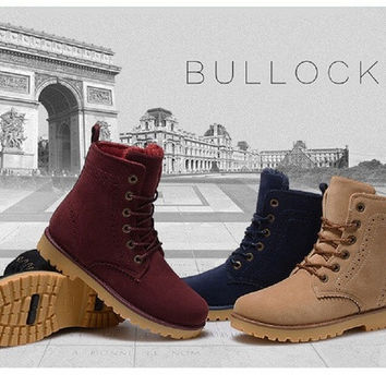 2016 Winter Snow Boots Women shoes Leather Warm boots Unisex Outdoor Leisure motorcycle boots [8295303047]
